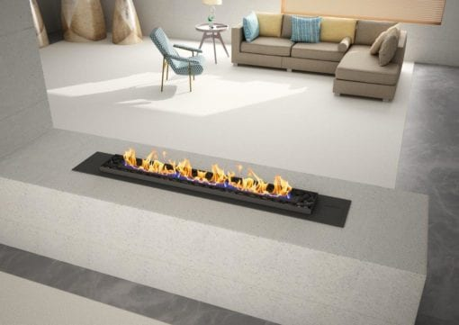 fluless gas fireplace with pebbles