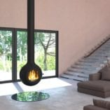 Globe hanging fireplace