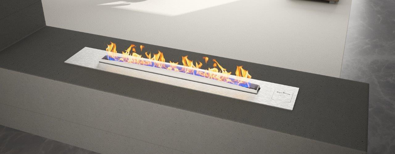 Stainless steel flueless gas fireplace without Pebbles (1)