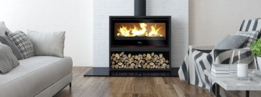 Lacunza 1000 Freestanding closed combustion fireplace on wood box