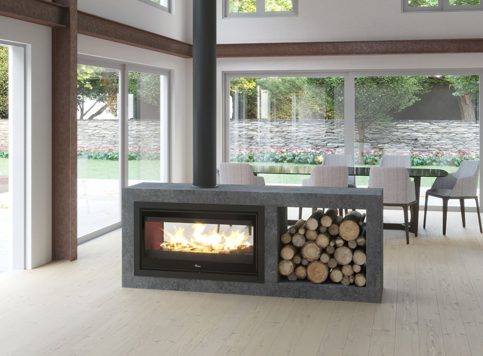 Lacunza Nickel Double Sided Insert Fireplace